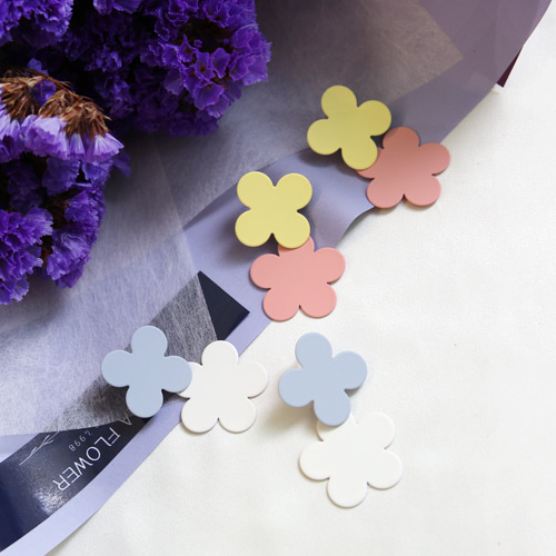 pastel flower drop earring